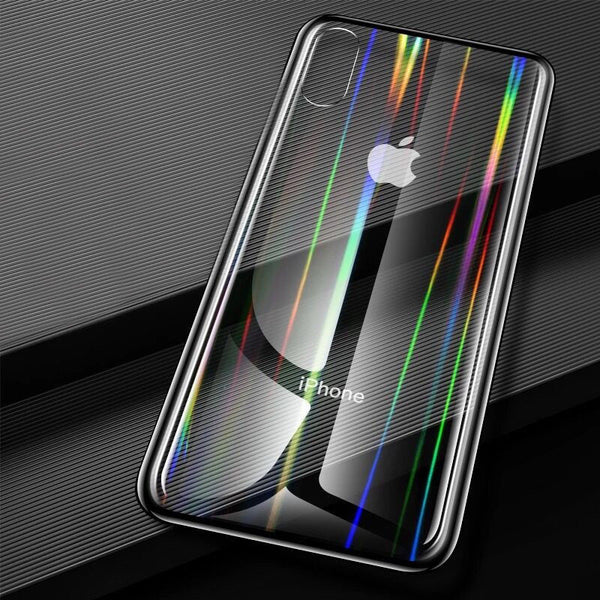 Premium Rainbow Aurora Transparent Tempered Glass Case Hard Shell Back Case for Apple iPhone X