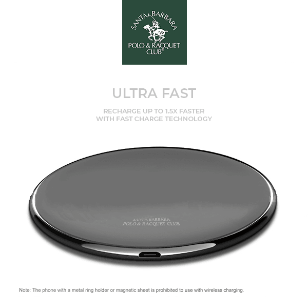 Luxury Santa Barbara Polo Racquet Qi Enabled Fast Wireless Charging Pad Wireless Charger for for iPhone X, 8/8Plus, S8/S8 Plus, Note 8 & All Qi Wireless Charging Mobiles & Tab