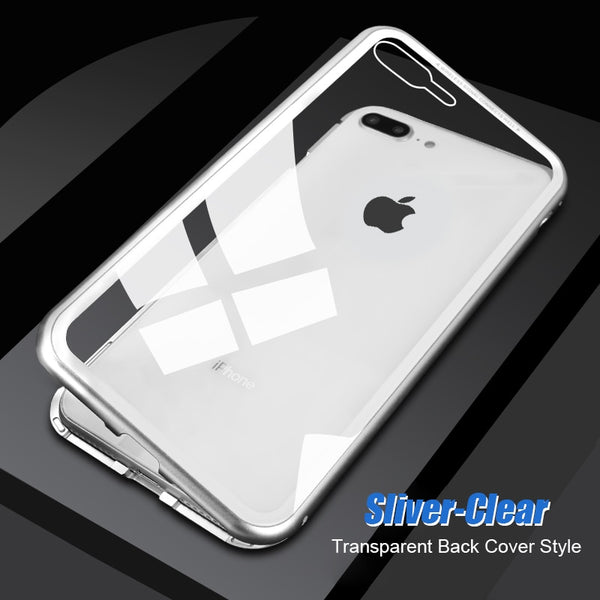 Luxury Magnetic Adsorption Metal Bumper Frame 9H Tempered Glass Back Case for Apple iPhone 8 Plus