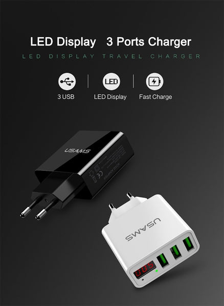 USAMS Three USB Ports Digital Display 5V-3A Travel Charger for iPhone Samsung HTC [EU Plug] - BLACK