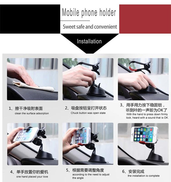 Premium Universal Windshield Silicone Sucker Car Mount 360 Degree Rotation Mobile Phone Holder - BLACK