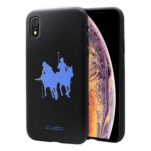 "Luxury Santa Barbara Polo & Racquet Club Genuine Leather Hard Back Case Cover for Apple iPhone XR (6.1"")"