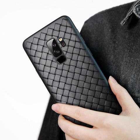 Premium Weaving Grid Breathable Soft Silicone Back Case Cover for Samsung Galaxy S9 Plus - Black