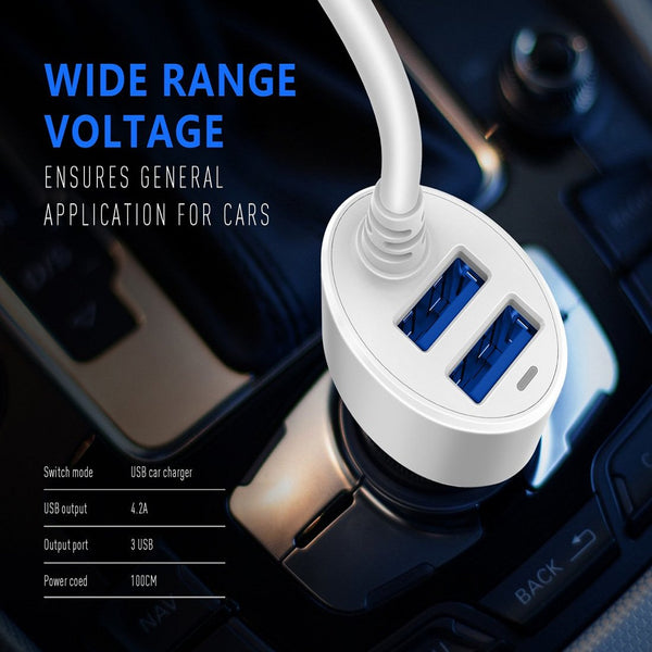 EMY Dual USB Port 4.2A Quick Charge with Integrated Charging Line Fast Car Charger for Samsung, HTC, Sony, Xiaomi - WHITE