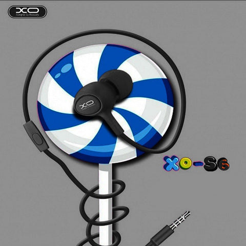 XO-S6 Candy Series Stereo In-ear 3.5mm Music Earphone with Microphone - BLACK