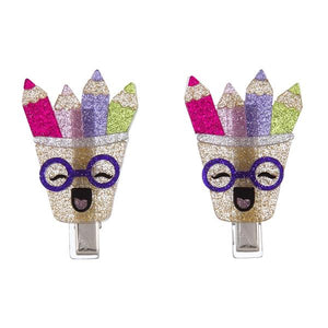 Colorful Pencils Hair Clips -  Lilies & Roses NY
