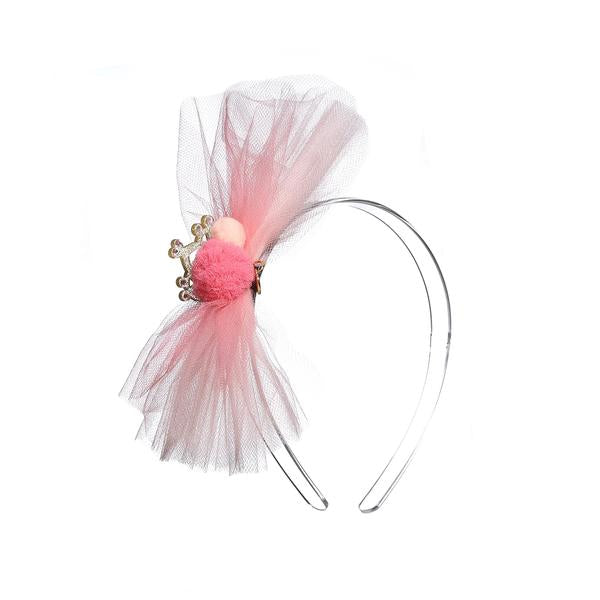 Tulle Bow with pompom & Crown -  Lilies & Roses NY