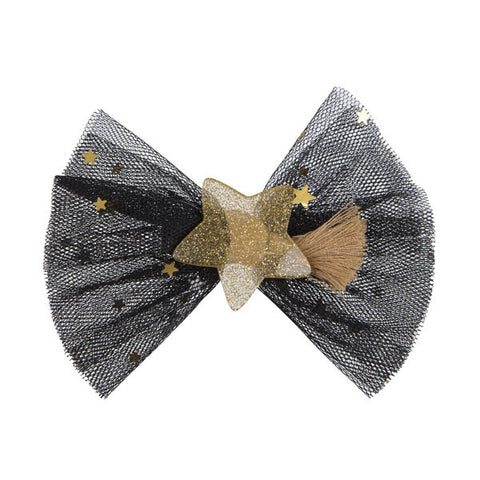 Tulle Bow with Glitter Star - Alligator Clip