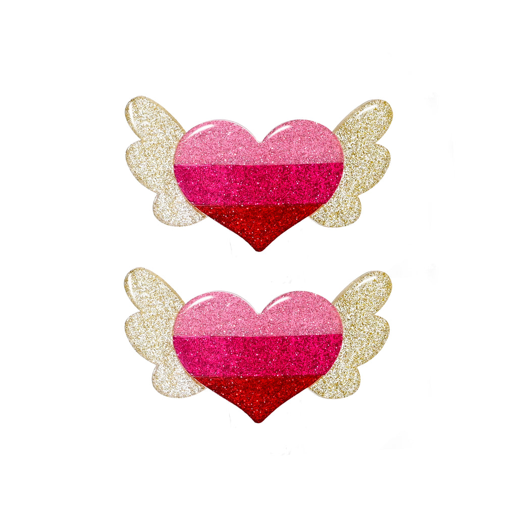 Winged Heart Alligator Clips