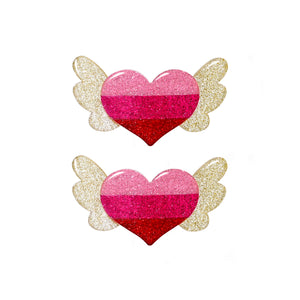 Winged Heart Hair Clips -  Lilies & Roses NY