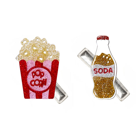 Popcorn and Soda Hair Clips -  Lilies & Roses NY