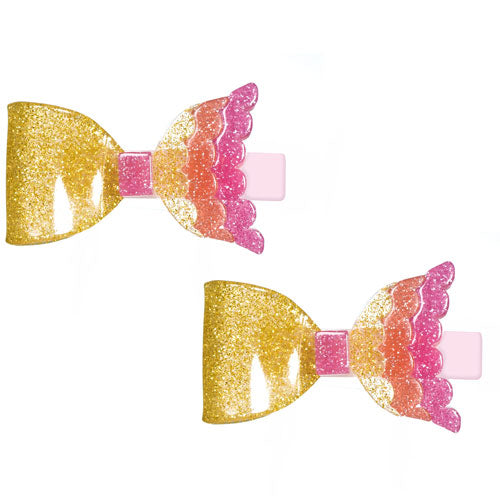 Mermaid, bow, alligator clips, hair clips, colorful, glitter,gold, coral, vintage pink