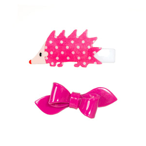 Porcupine & Bow Pink Alligator Clips