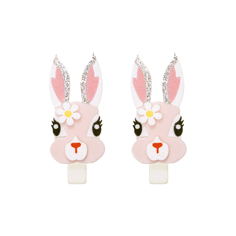 Pink Easter Bunny With Flower Alligator Clips