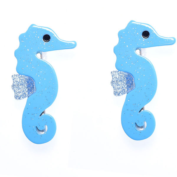 Seahorse, alligator clip, hair clips, blue, glitter, hair accessories