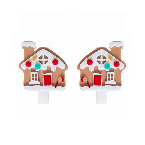 Gingerbread House Hair Clips