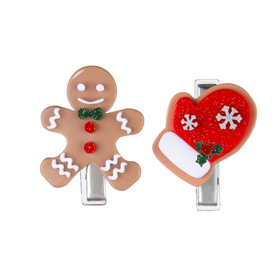 Red Mitten + Happy Gingerbread Man Alligator Clips