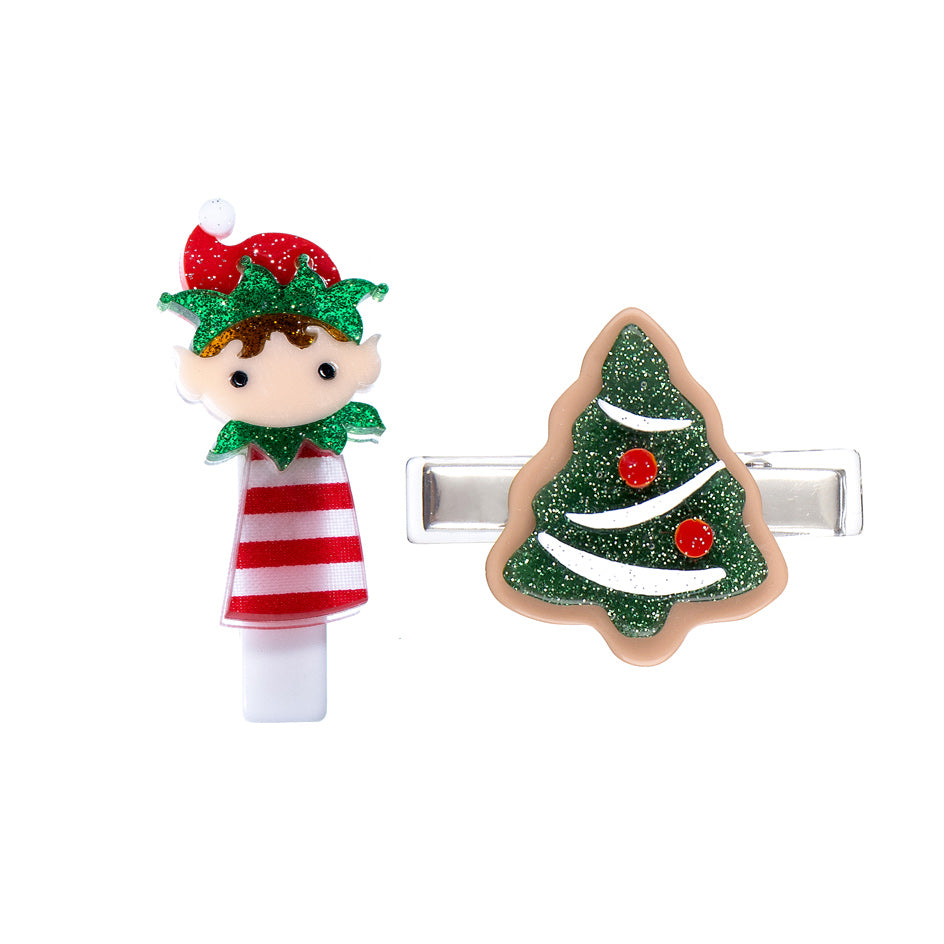 Christmas Tree + Elf Alligator Clip