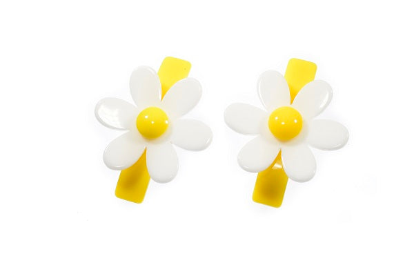 Daisy, flowers, hair clips, alligator clips, yellow