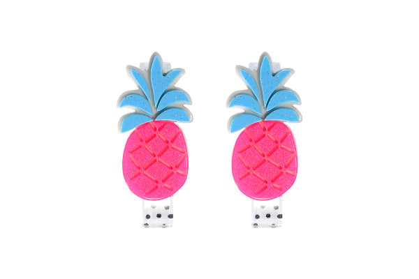 Pineapple, fruit, alligator clips, hair clips, blue, neon pink,, hair accessories