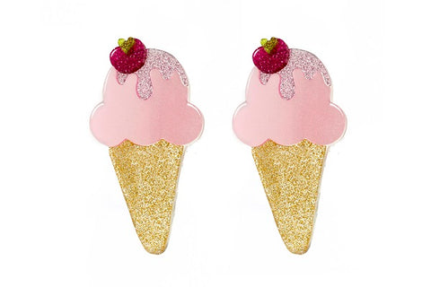 Ice Cream Hair Clips - Pink Satin -  Lilies & Roses NY