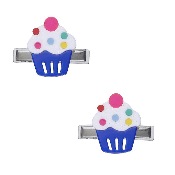 cupcake, hair clips, alligator clips, hair accessories, rainbow sprinkles, blue, party, hair accessories