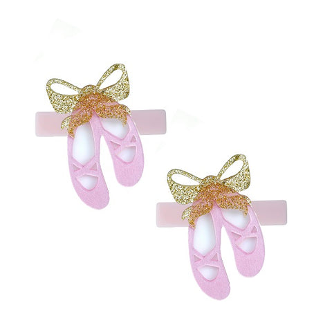 ballet slippers hair clips, alligator clips, pink, gold, white, ballerina, glitter