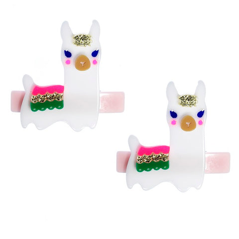 Llama, alligator clips, hair accessories, colorful, white, pink, green, gold, glitter
