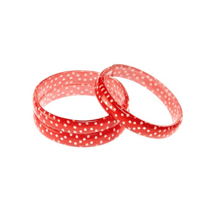 Bangle Bracelets Set - Red with White Dots