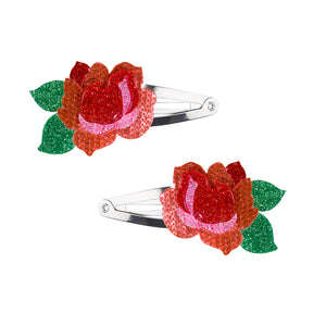 Red Rose Hair Clips -  Lilies & Roses NY