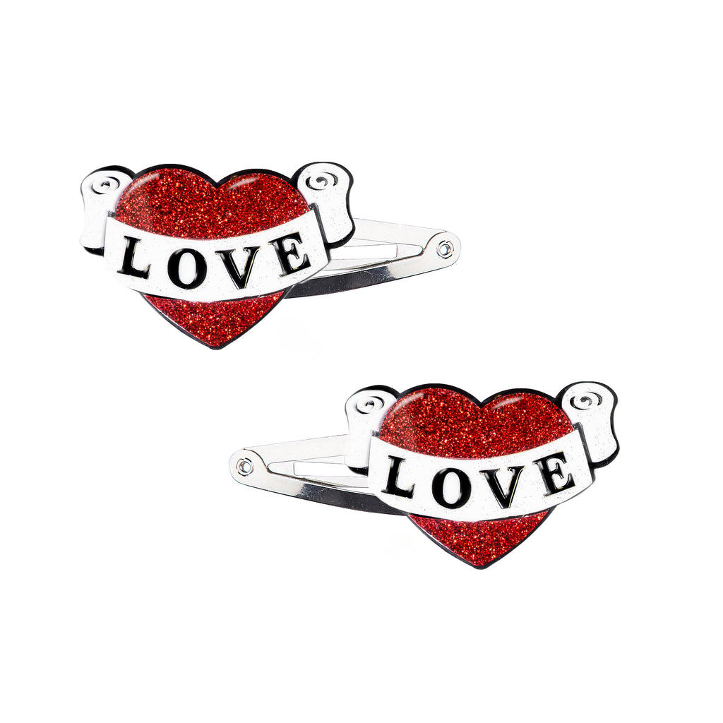 Vintage Heart Snap Clips