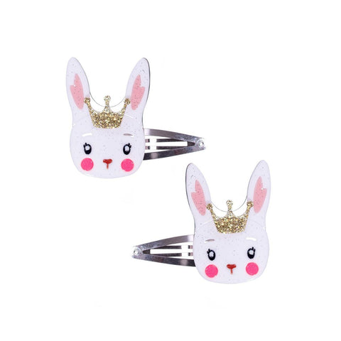 White Easter Bunny with Crown Snap Clips