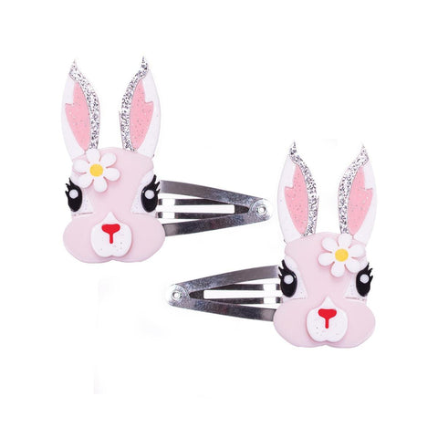 Pink Easter Bunny With Flower Snap Clips