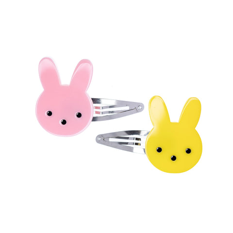 Easter Bunny Yellow Pink Snap Clips (Pair)