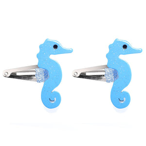 Seahorse, snap clips, hair clips, blue, glitter, hair accessories