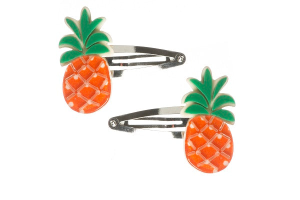 Pineapple, fruit, snap clips, hair clips, green, orange, white, dots, hair accessories