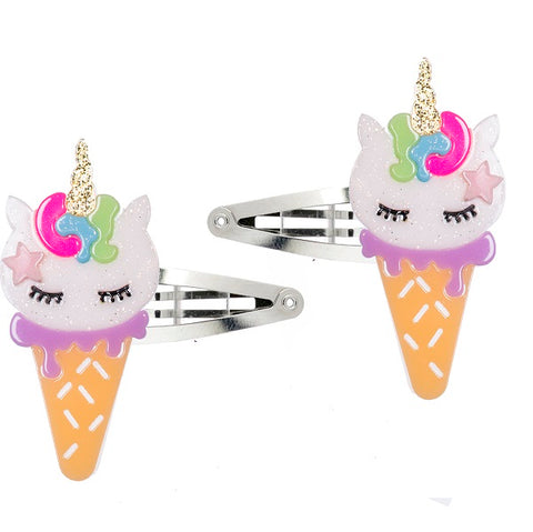 Ice Cream Unicorn Hair Clips -  Lilies & Roses NY