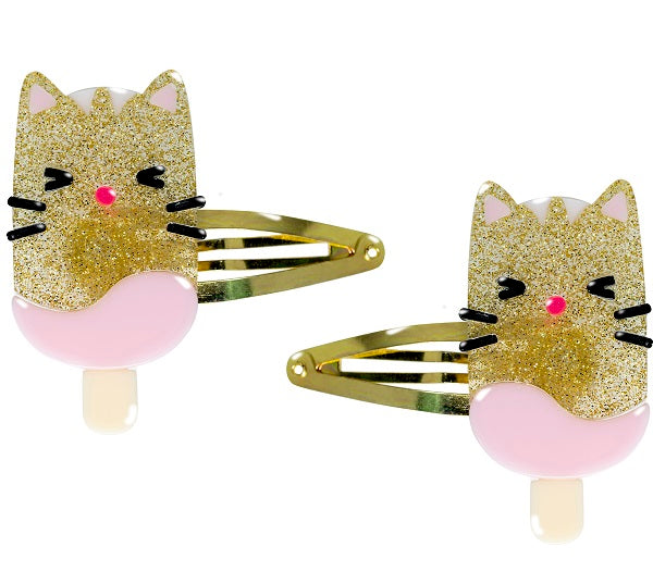 popsicle cat, hair clips, snap clips, animals, glitter, gold, hair accessories
