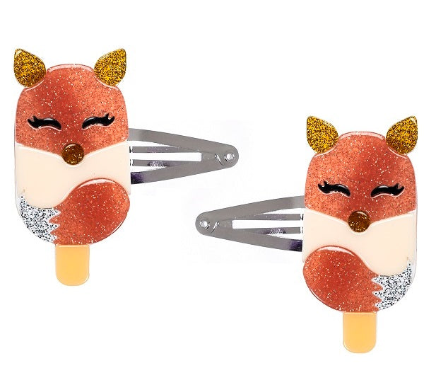 popsicle, fox, hair clips, snap clips, animals, glitter, coral, treats, hair accessories