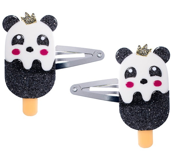 popsicle panda, hair clips, snap clips, animals, glitter, black, white, hair accessories