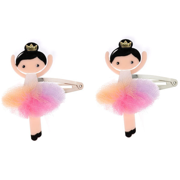 ballerina snap clips, hair clips, pastel, rainbow, colorful, tulle, tutu, glitter,