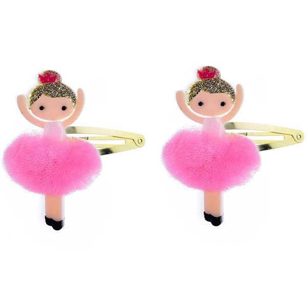 ballerina snap clips, hair clips, pink, colorful, tulle, tutu, glitter
