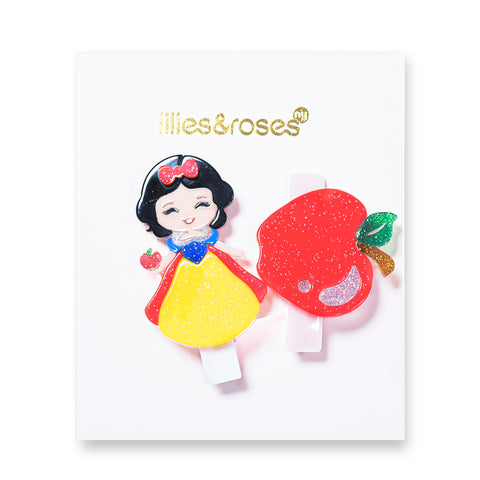 Princess + Apple Hair Clips -  Lilies & Roses NY