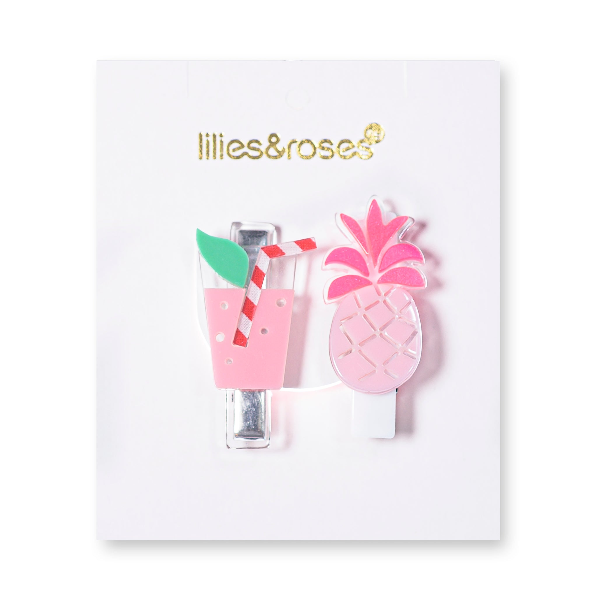Tropical Juice + Pineapple Hair Clips -  Lilies & Roses NY