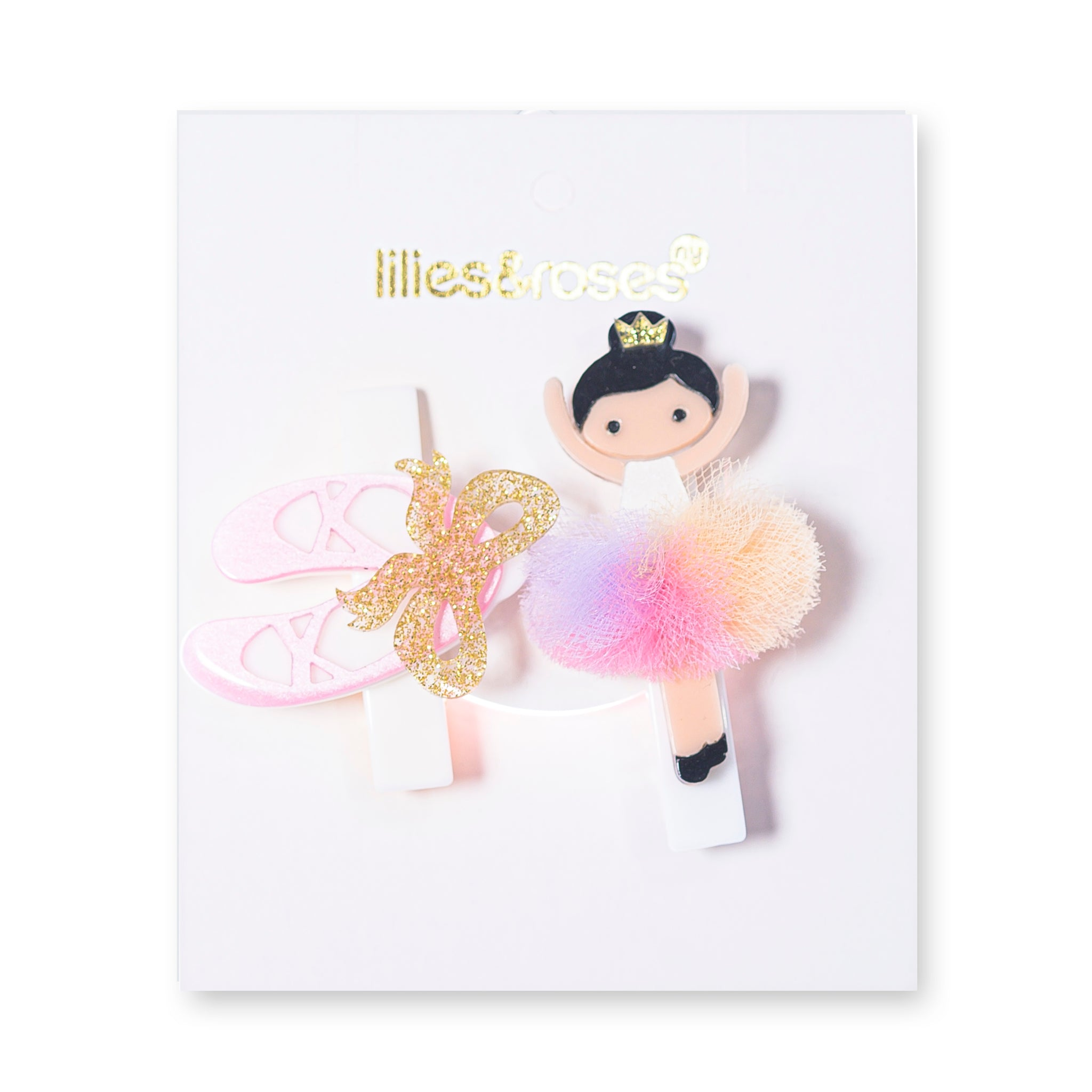 Slippers + Ballerina Hair Clips -  Lilies & Roses NY