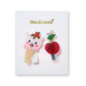 Cherry + Pig Ice Cream Hair Clips -  Lilies & Roses NY