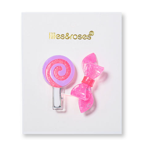 Lollipop + Bow Hair Clips -  Lilies & Roses NY