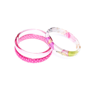 Bracelets Mix - Happy Print + Clear + Pink Dots -  Lilies & Roses NY