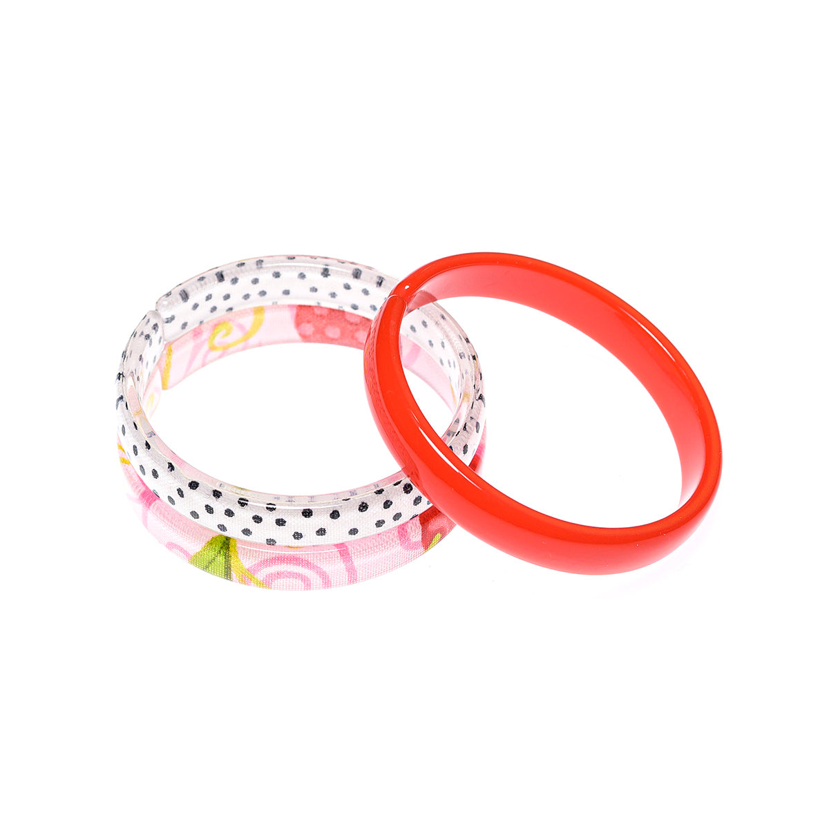 Bracelets Mix - Red + White w/ Black Dots + Pink Floral Print -  Lilies & Roses NY