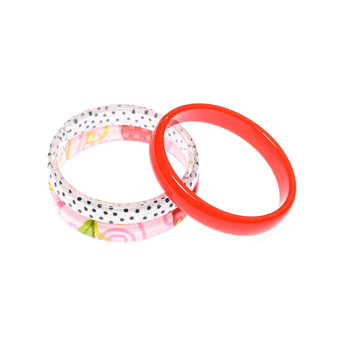 Bracelets Mix - Red + White w/ Black Dots + Pink Floral Print